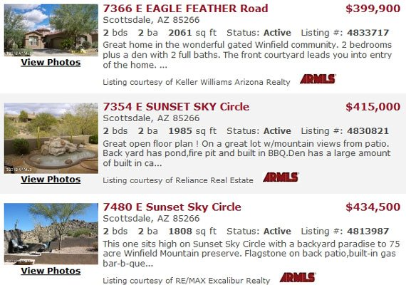 Winfield Homes For Sale Winfield Real Estate Arizona | Winfield Estates Scottsdale